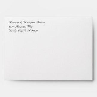 White Invitation Envelopes - Black & White Damask