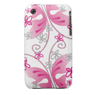 White iPhone 3g/3gs Case:Pink Butterflies iPhone 3 Case