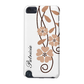 White iPod Touch 4g Case::Brown Flowers iPod Touch (5th Generation) Cover