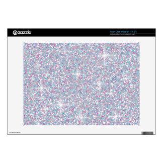 White iridescent glitter acer chromebook skin