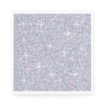 White iridescent glitter paper napkin