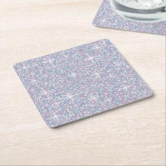 White iridescent glitter square paper coaster