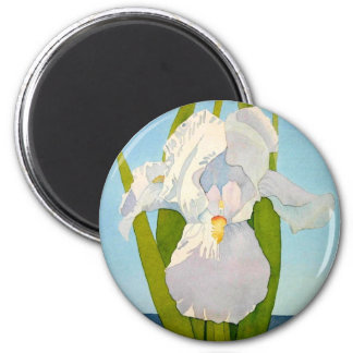 White Iris2 2 Inch Round Magnet