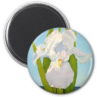 White Iris2 Fridge Magnet