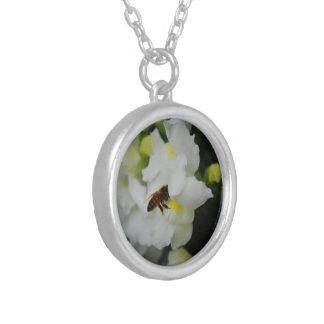White Iris (Necklace) Round Pendant Necklace