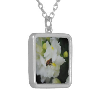 White Iris (Necklace) Square Pendant Necklace