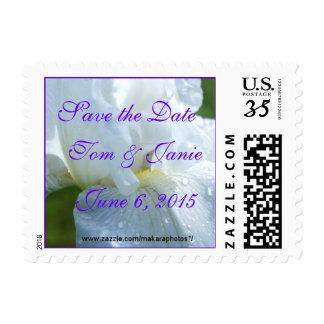 White Iris Postcard Stamp -change size & words