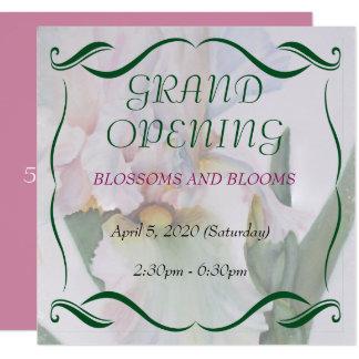 WHITE IRIS WATERCOLOR FLOWER GRAND OPENING INVITE