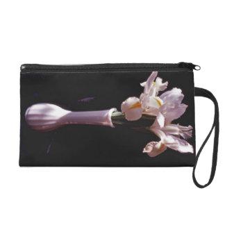 White Irises In White Vase Baguette Bag Wristlet Clutches