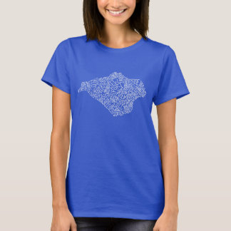 White Isle of Wight Text Map Womens t shirt
