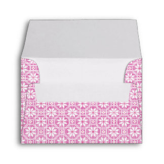 White isolated lace texture on pink background envelope