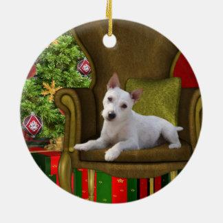 White Jack Russell Christmas Ceramic Ornament