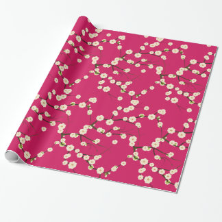 White Japanese Cherry Blossoms  Branches on Red Wrapping Paper
