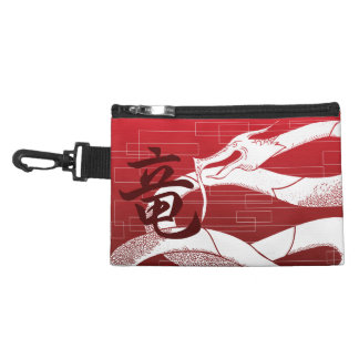 White Japanese Dragon Red Background Accessory Bag