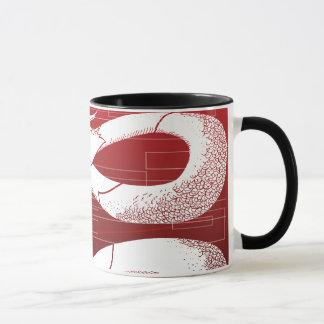 White Japanese Dragon Red Background Mug