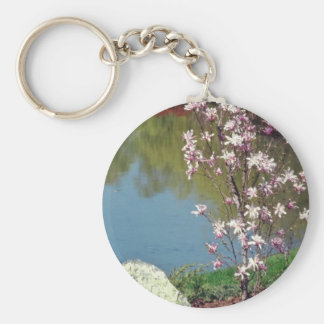white Japanese garden flowers Key Chain