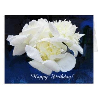 White Japanese Peonies Birthday Greeting Card