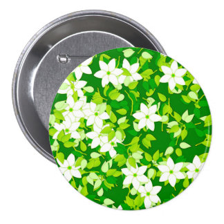 White jasmine among green leaves pinback button