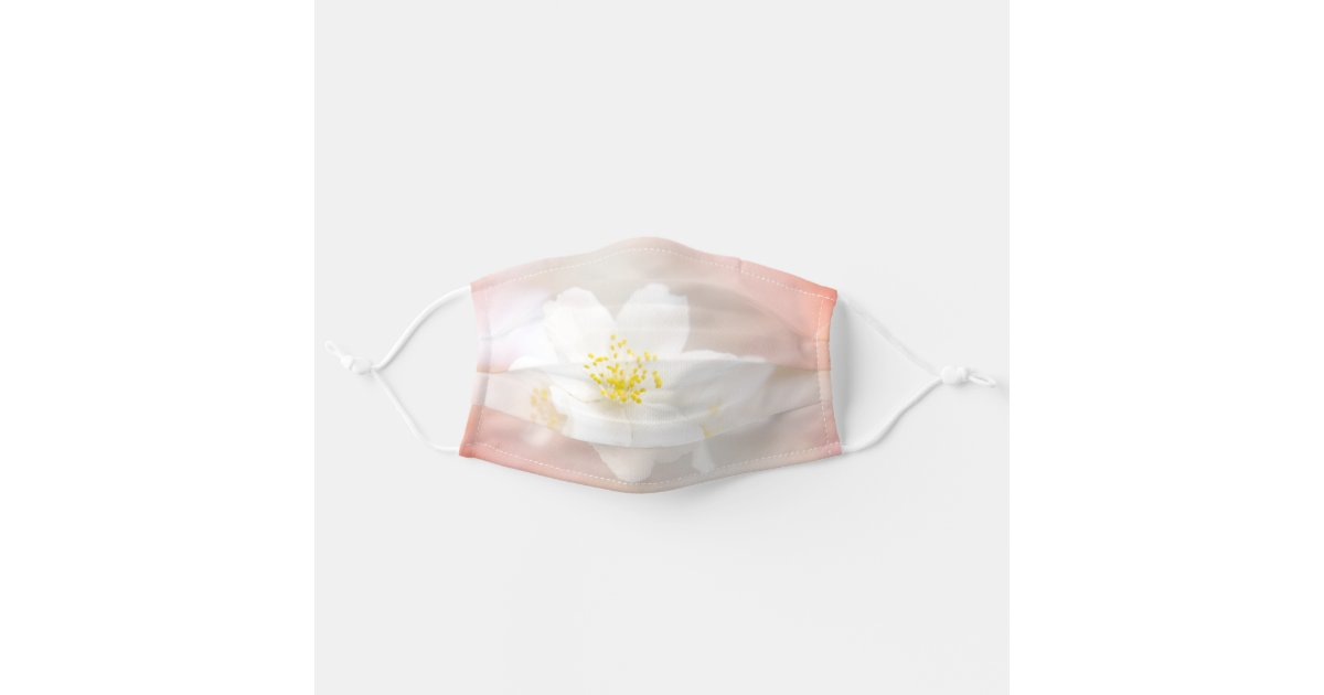 White Jasmine Flowers Peach Coloured Background Adult Cloth Face Mask Zazzle Com