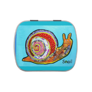 White Jelly Belly Candy Tin with Big Snail