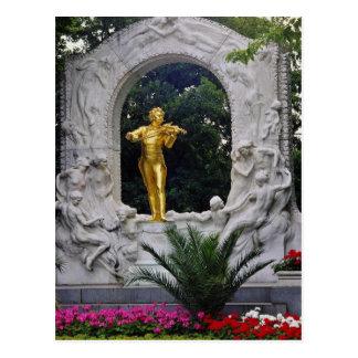 White Johann Strauss Monument, Vienna, Austria flo Postcard