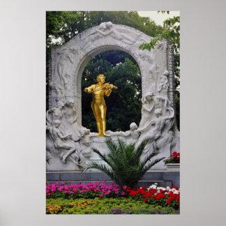 White Johann Strauss Monument, Vienna, Austria flo Poster