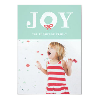 White Joy Christmas Wreath Holiday Photo Card