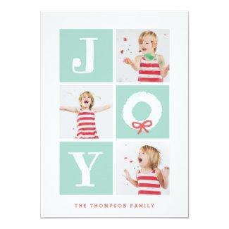 White Joy Christmas Wreath Multiphoto Holiday Card