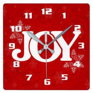 White JOY on Elegant Red Christmas Square Wall Clock