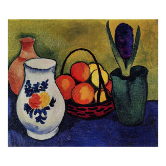 White jug with flowers and fruits by August Macke Poster