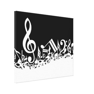 White Jumbled Musical Notes on Black Canvas Print