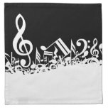 White Jumbled Musical Notes on Black Cloth Napkin