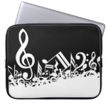 White Jumbled Musical Notes on Black Computer Sleeves