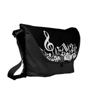 White Jumbled Musical Notes on Black Courier Bag