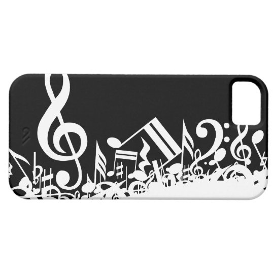 White Jumbled Musical Notes on Black iPhone SE/5/5s Case