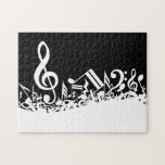 White Jumbled Musical Notes on Black Jigsaw Puzzle