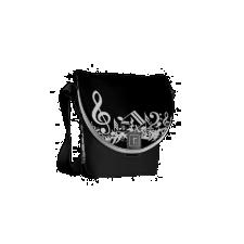 White Jumbled Musical Notes on Black Messenger Bag
