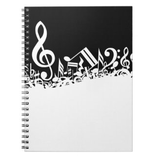 White Jumbled Musical Notes on Black Note Books