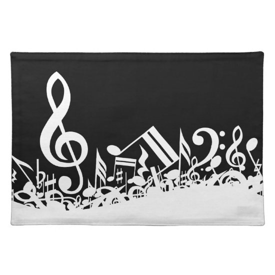 White Jumbled Musical Notes on Black Placemat