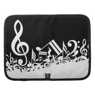 White Jumbled Musical Notes on Black Folio Planners
