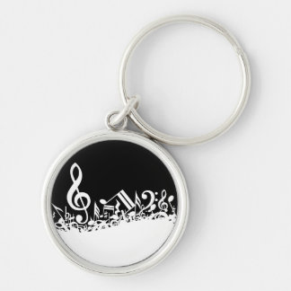 White Jumbled Musical Notes on Black Silver-Colored Round Keychain