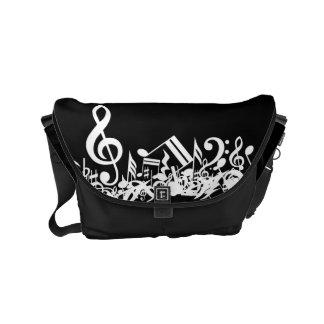 White Jumbled Musical Notes on Black Small Messenger Bag
