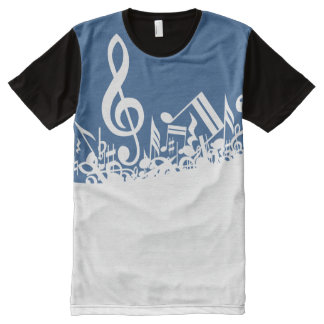 White Jumbled Musical Notes on Blue All-Over Print T-shirt