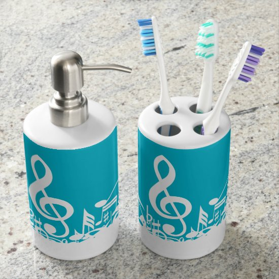 White Jumbled Musical Notes on Turquoise Bathroom Set