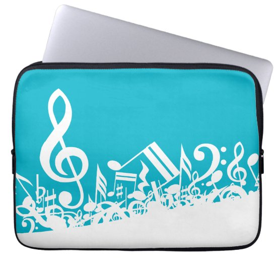 White Jumbled Musical Notes on Turquoise Computer Sleeve