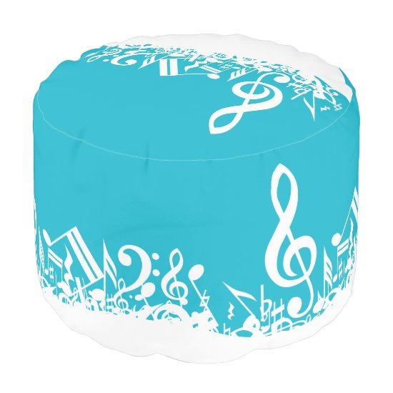 White Jumbled Musical Notes on Turquoise Pouf