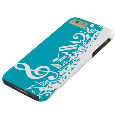 White Jumbled Musical Notes on Turquoise Tough iPhone 6 Plus Case