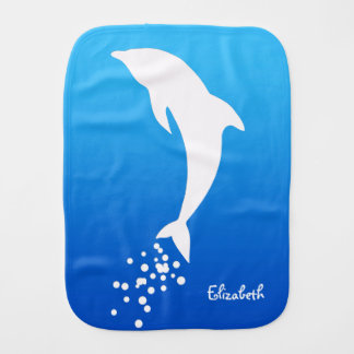 White Jumping Dolphin With Bubbles Burp Cloth