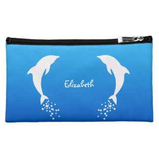 White Jumping Dolphin With Bubbles Cosmetic Bag