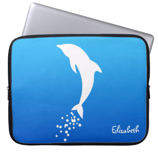 White Jumping Dolphin With Bubbles Laptop Sleeve